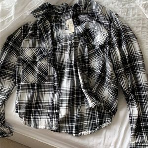 button up cropped flannel